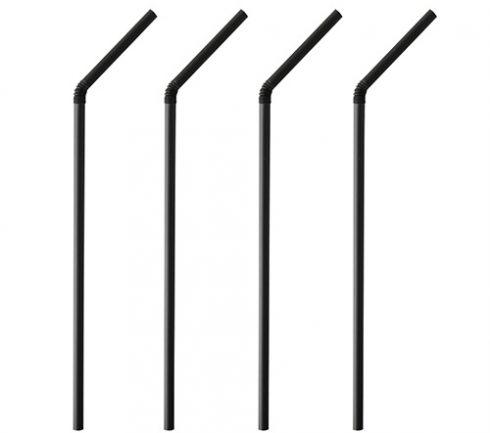 Sugrör böjbart svart 24cm 250st